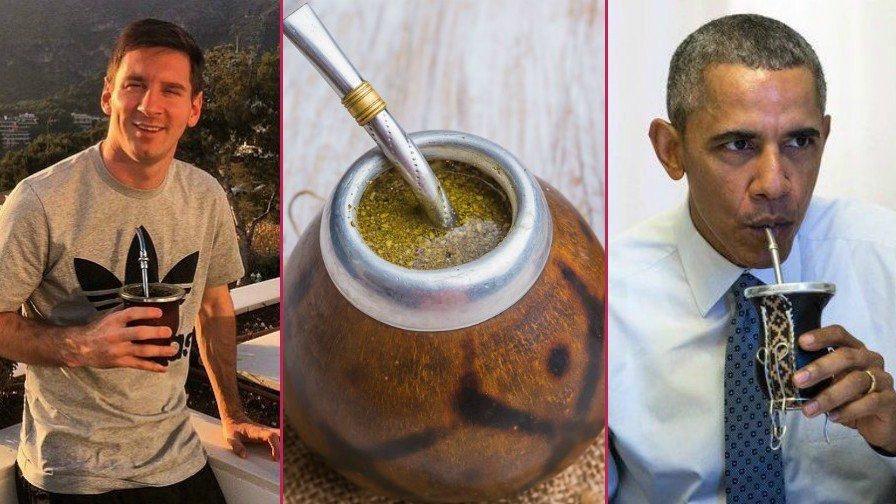Barack Obama and Lionel Messi drink yerba mate