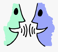 Two persons talk with each other