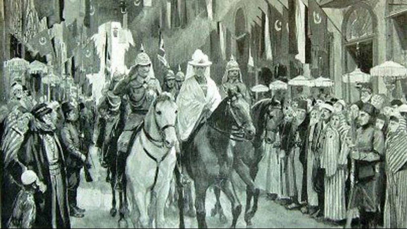 The German Empress and his wife rode horses in Damascus streets